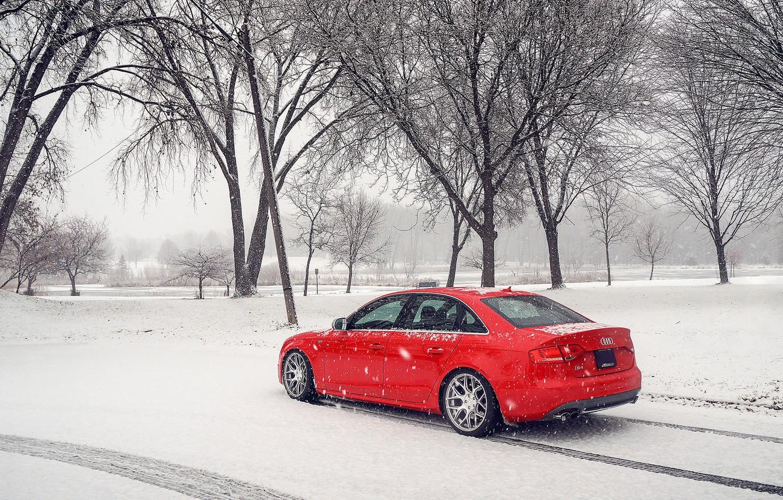 Photo wallpaper winter, snow, Audi, Audi, red, red