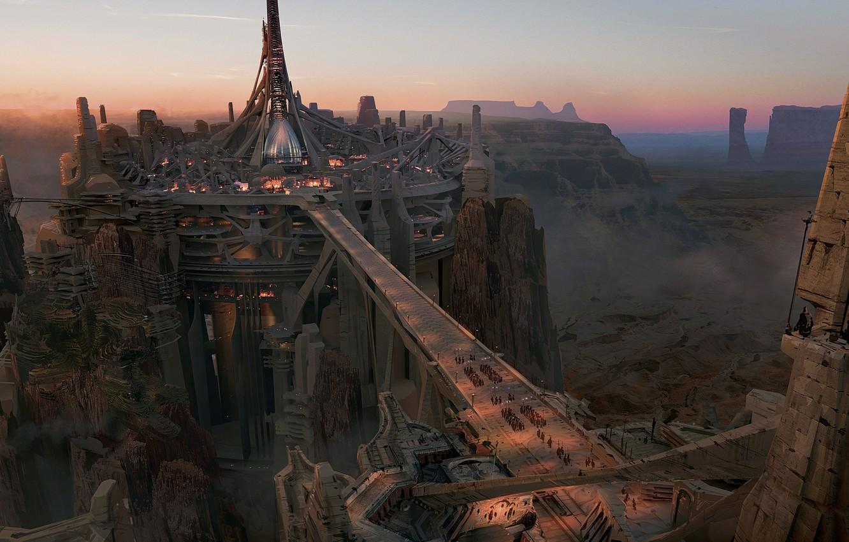 Photo wallpaper bridge, the city, rocks, height, canyon, Concept art, John Carter