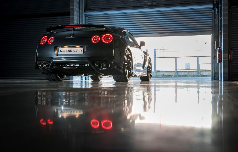 Photo wallpaper machine, light, red, reflection, Nissan, GT-R, back, exhausts, brake lights