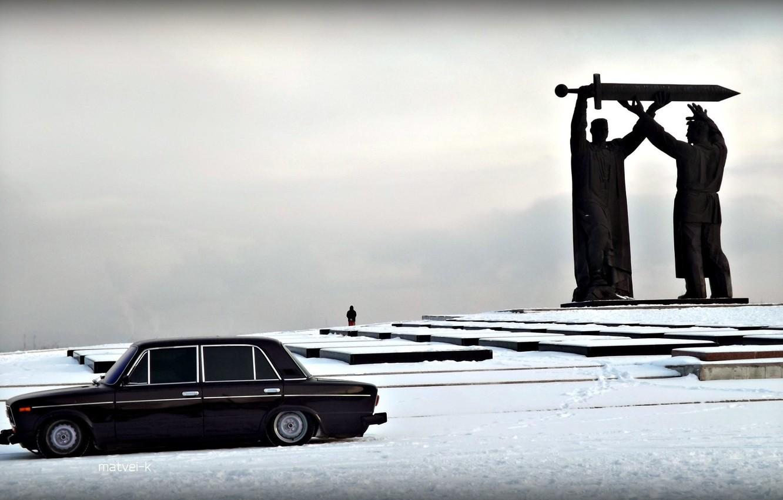 Photo wallpaper machine, snow, Auto, monument, Lada, auto, Lada, 2103, VAZ, BPAN, Without Landing Auto No