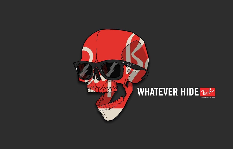 Photo wallpaper Red, Minimalism, Skull, White, Humor, Glasses, Wallpaper, The inscription, Black, Red, Brand, Art, Art, Black, …