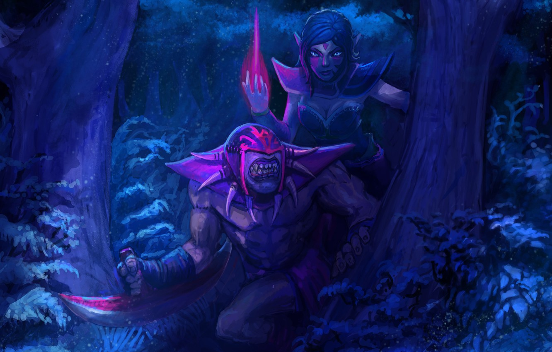 Wallpaper Forest Girl Night Art Ambush Guy Bloodseeker Dota