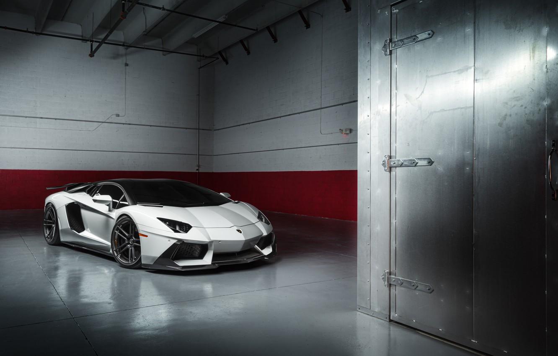 Photo wallpaper Lamborghini, White, LP700-4, Aventador, Supercar, Wheels, ADV.1, PML 1