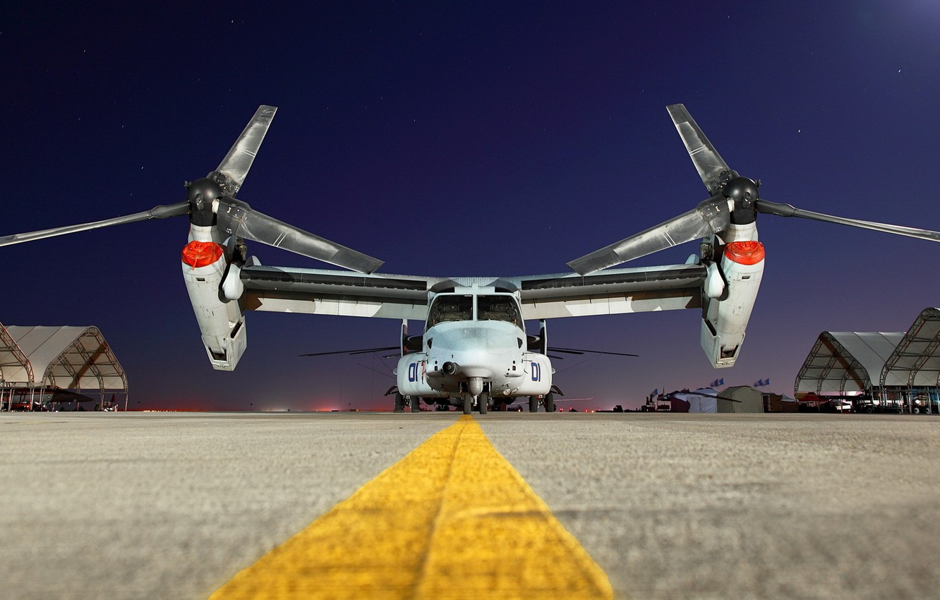 Photo wallpaper night, the plane, the airfield, Bell V-22 Osprey