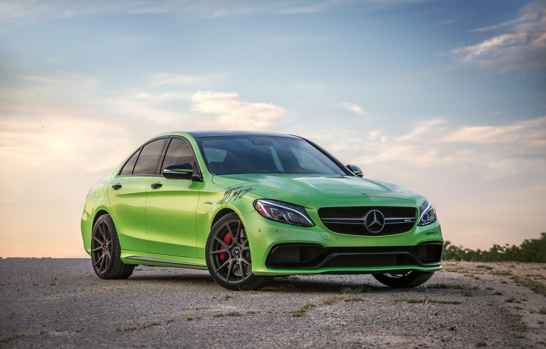 Photo wallpaper Mercedes, Green, AMG, C63