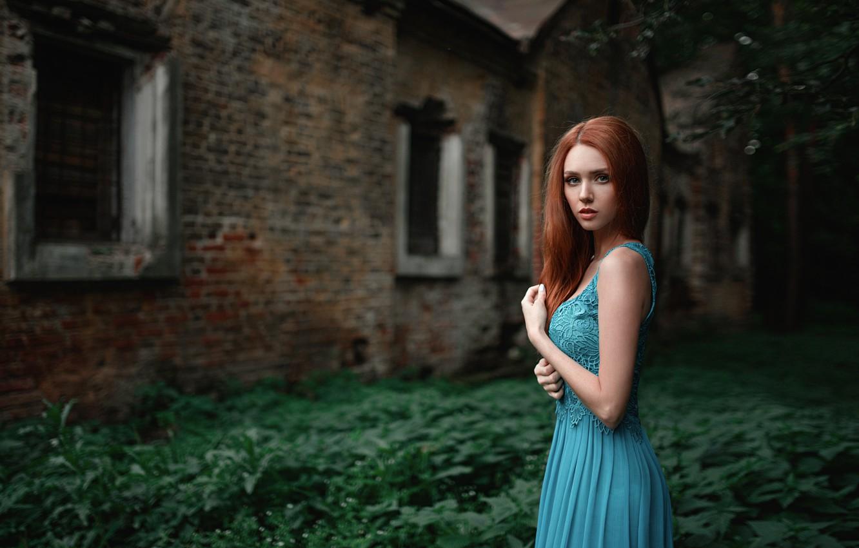 Photo wallpaper grass, girl, blue, foliage, the building, portrait, dress, red, beautiful, Russian, beauty, abandoned, bokeh, grid, …