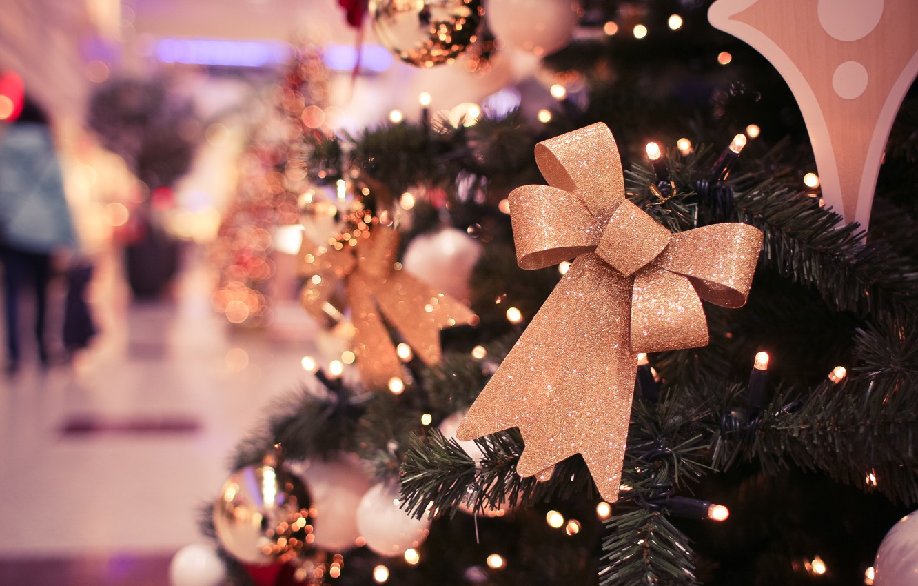 Photo wallpaper holiday, tree, new year, decoration, bow