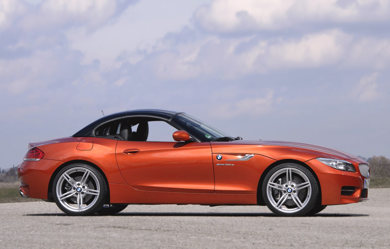 Photo wallpaper Roadster, Auto, BMW, Wheel, Machine, Boomer, Convertible, BMW, Orange, Coupe, Side view