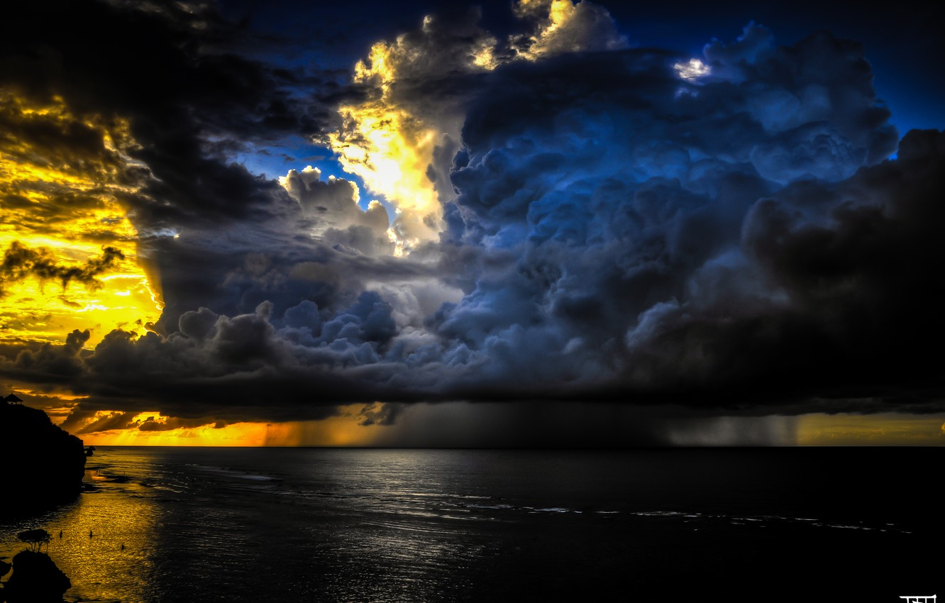 Photo wallpaper sea, the sky, clouds