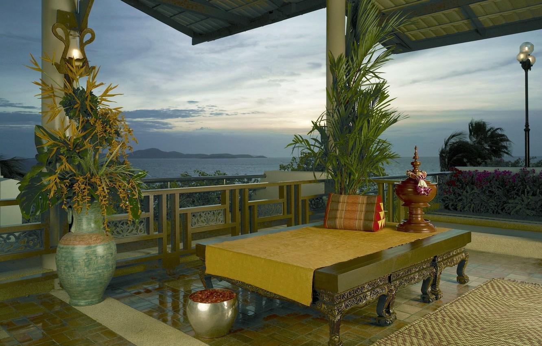 Photo wallpaper the sky, landscape, mountains, table, Asia, veranda