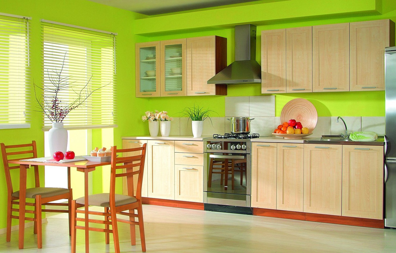Photo wallpaper Kitchen, Furniture, Green