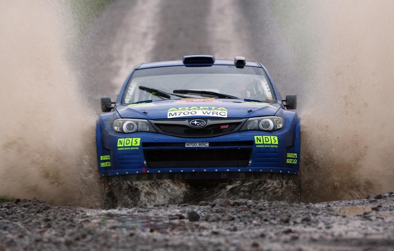 Photo wallpaper Water, Auto, Blue, Subaru, Impreza, Machine, Logo, Squirt, Lights, Car, wrc, Rally, Rally, The front