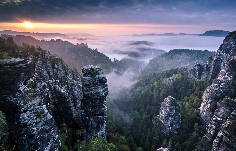 Photo wallpaper Clouds, Landscape, Sunrise, Mist, Rocks, Fog, Saxon Switzerland