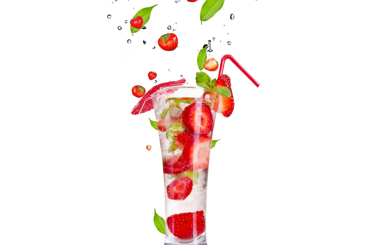 Photo wallpaper ice, squirt, Cocktail, ice, leaves, leaves, fruits and berries on a white background, fruit and …