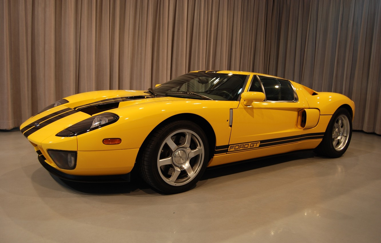 Photo wallpaper Ford, yellow, room, drapes, GT