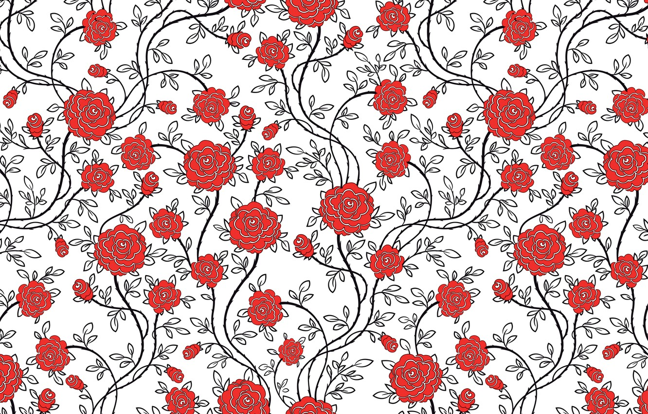 Photo wallpaper flowers, roses, texture, pattern