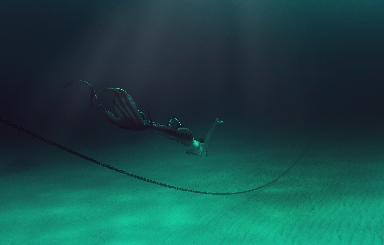 Photo wallpaper sea, girl, mermaid, the bottom, breath, chain, costume, tail, extreme, under water, diving, photoshoot, swimming, …
