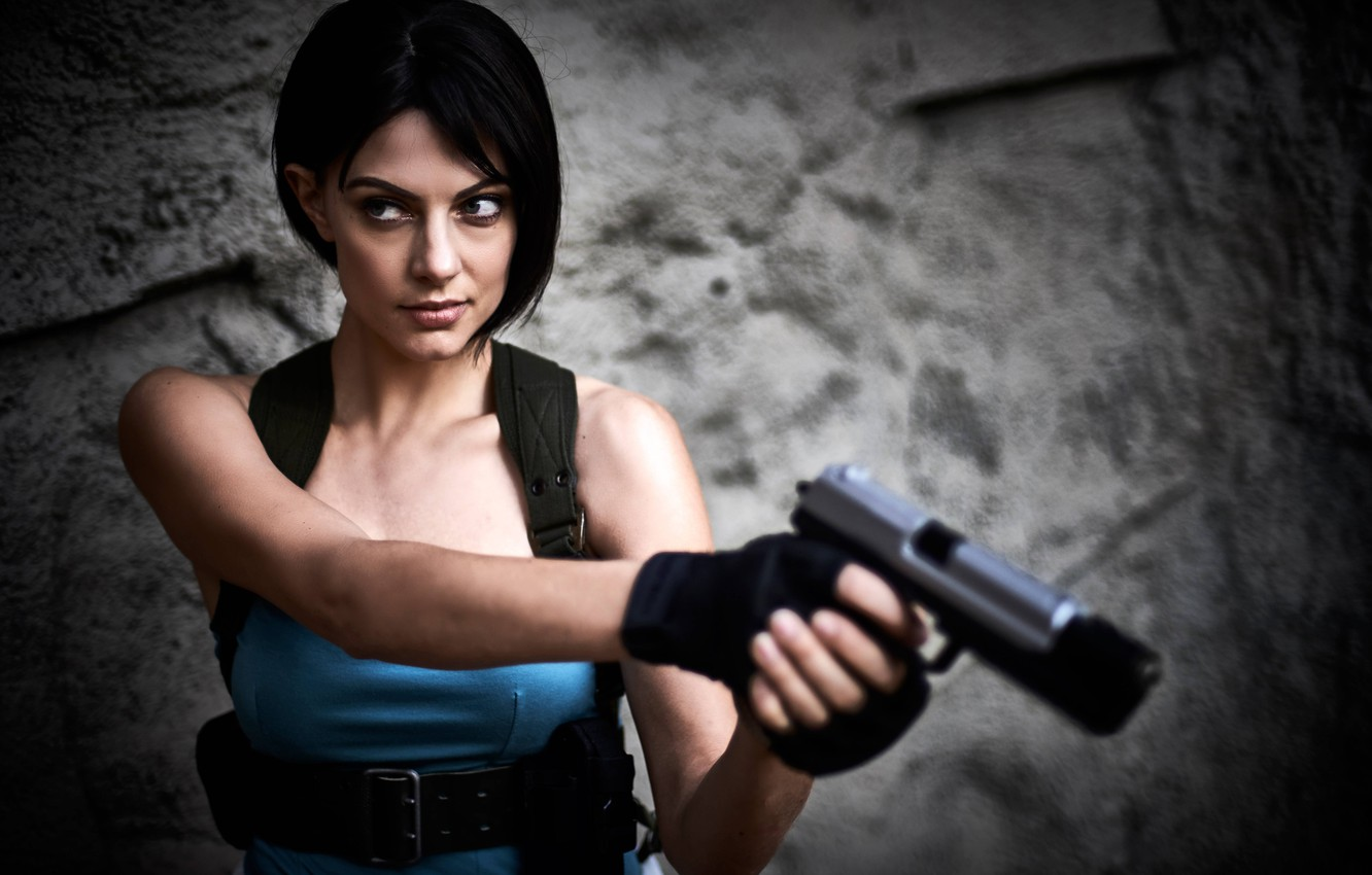 Photo wallpaper look, girl, weapons, Resident Evil, cosplay, Jill Valentine