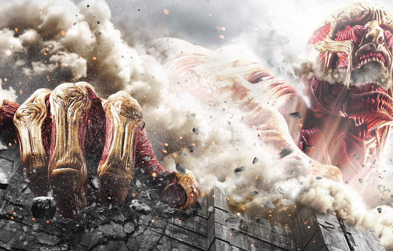 Photo wallpaper Wall, Bones, The film, Rage, Destruction, Manga, Film, Manga, Bones, Attack on Titan, Destruction, Anger, …