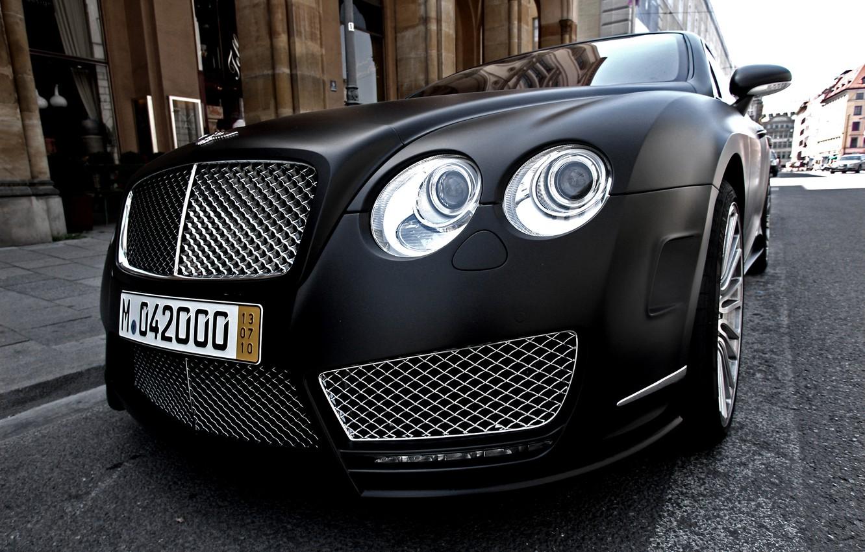 Photo wallpaper black, Bentley, Matt, continental, black, mansory, matt, front, street, Bentley, continental, Mansory