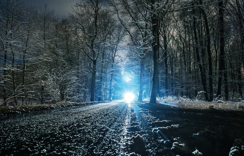 Photo wallpaper winter, road, light, snow, landscape, nature