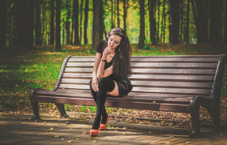 Photo wallpaper Park, dress, bench, in black