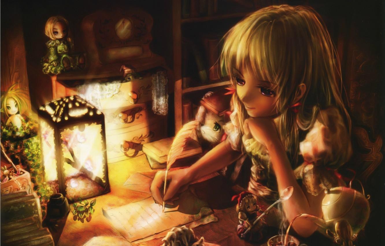 Photo wallpaper letter, room, watch, books, doll, kettle, girl, lantern, sitting, art, Miyai Haruki
