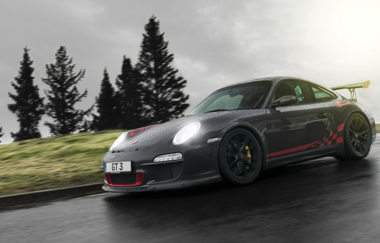 Photo wallpaper drops, rain, black, 997, Porsche, supercar, Porsche, black, rain, GT3, race, racing