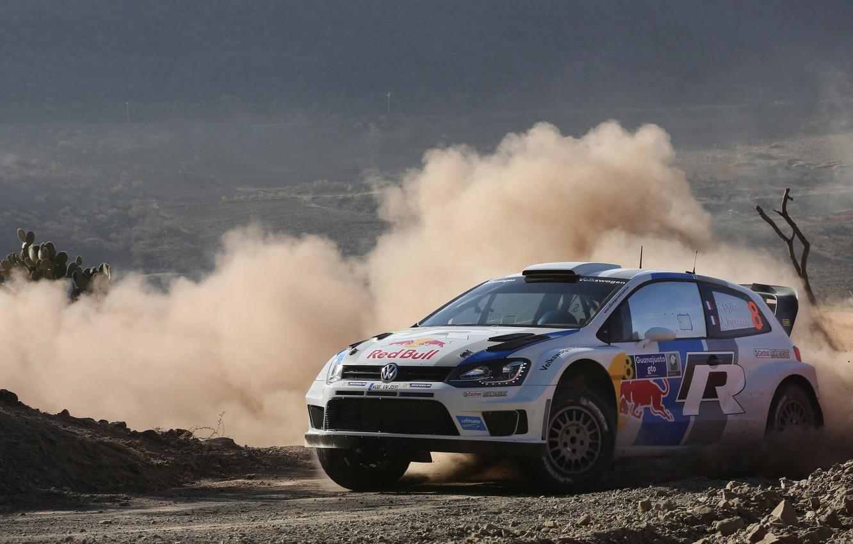 Photo wallpaper Auto, Dust, Sport, Volkswagen, Mexico, Skid, WRC, Rally, Polo, S. Ogier, Smack
