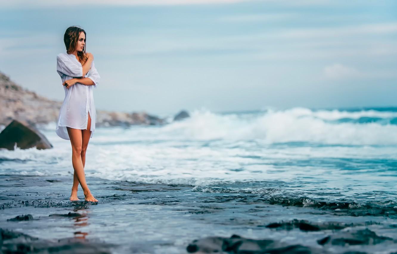Photo wallpaper girl, shore, surf, shirt, Igor Egorov