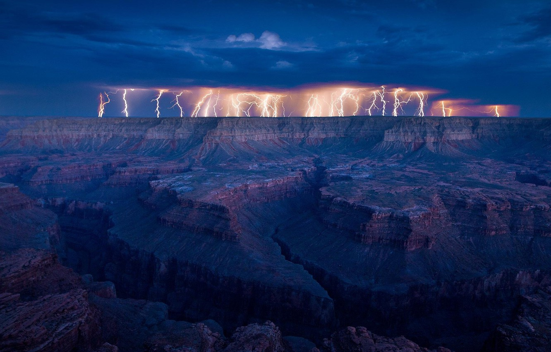 Photo wallpaper night, nature, lightning, view, Canyon