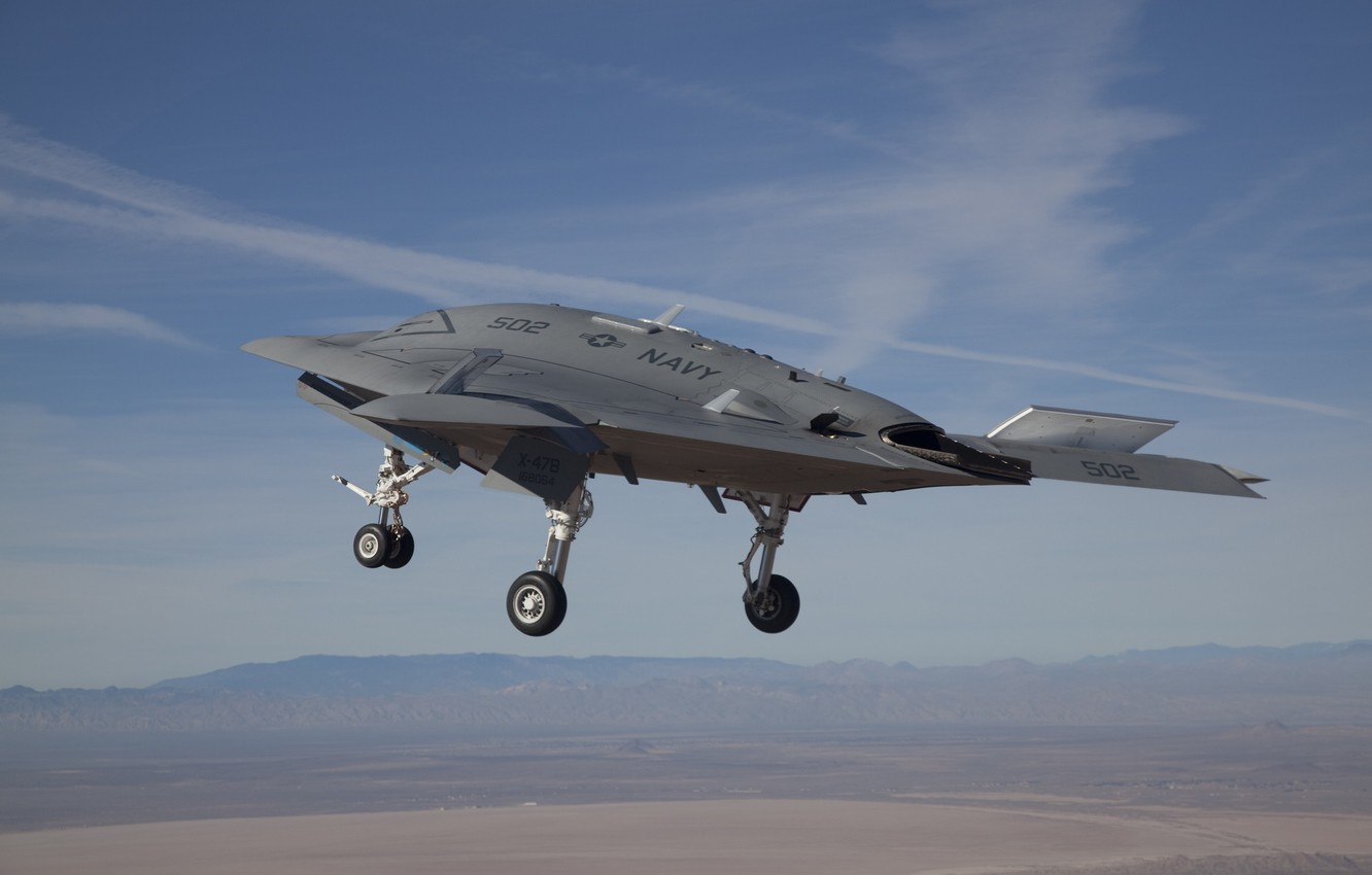 Photo wallpaper the sky, flight, combat, chassis, Х47В, Unmanned aerial vehicle, Northrop Grumman Corporation