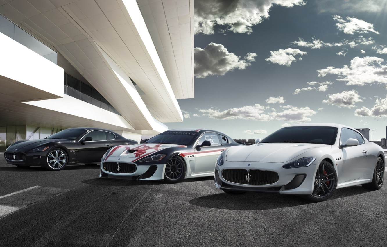 Photo wallpaper the sky, clouds, coupe, maserati, gran turismo, Maserati, the front, Gran Turismo