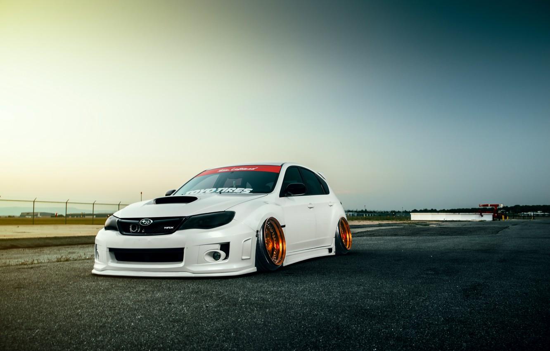 Photo wallpaper Subaru, Impreza, WRX, Sky, STI, Front, White, Stance, Low