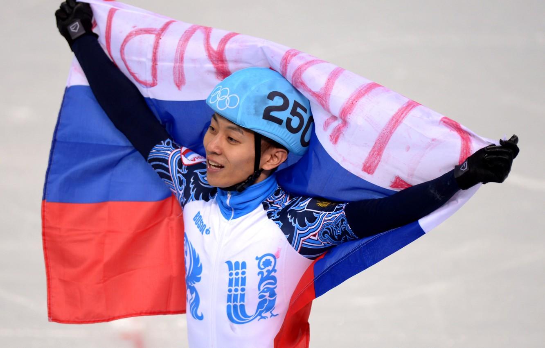 Photo wallpaper flag, Olympics, gold medal, Olympic games, Sochi 2014, sochi 2014, Viktor Ahn, FIVE-TIME CHAMPION