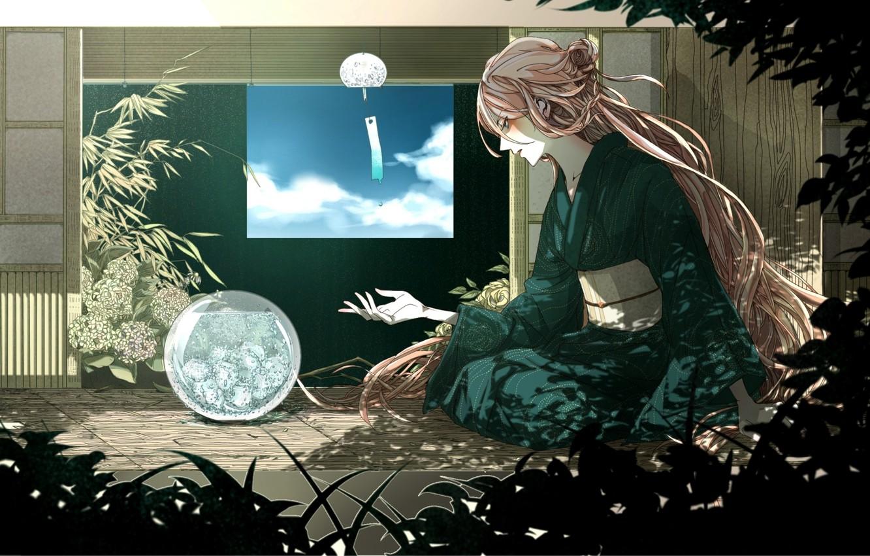 Photo wallpaper the sky, water, girl, clouds, house, plants, art, kimono, vocaloid, Vocaloid, rakeru, fleedo