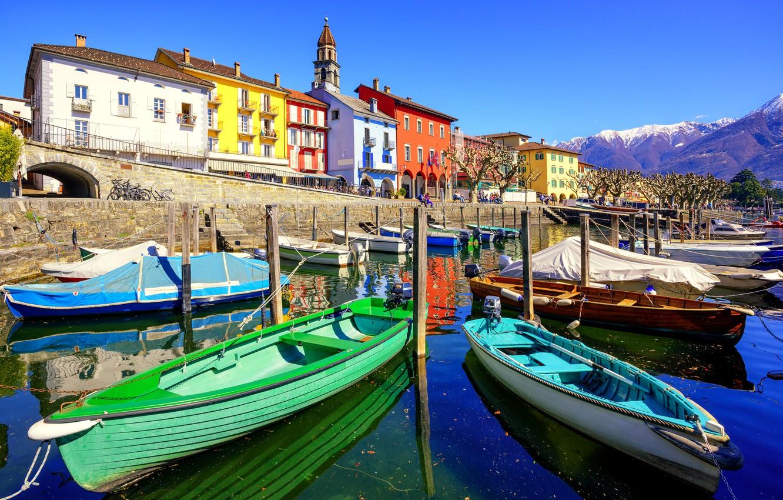 Photo wallpaper the sky, the sun, landscape, mountains, lake, home, boats, Switzerland, promenade, piers, Ascona, Ticino