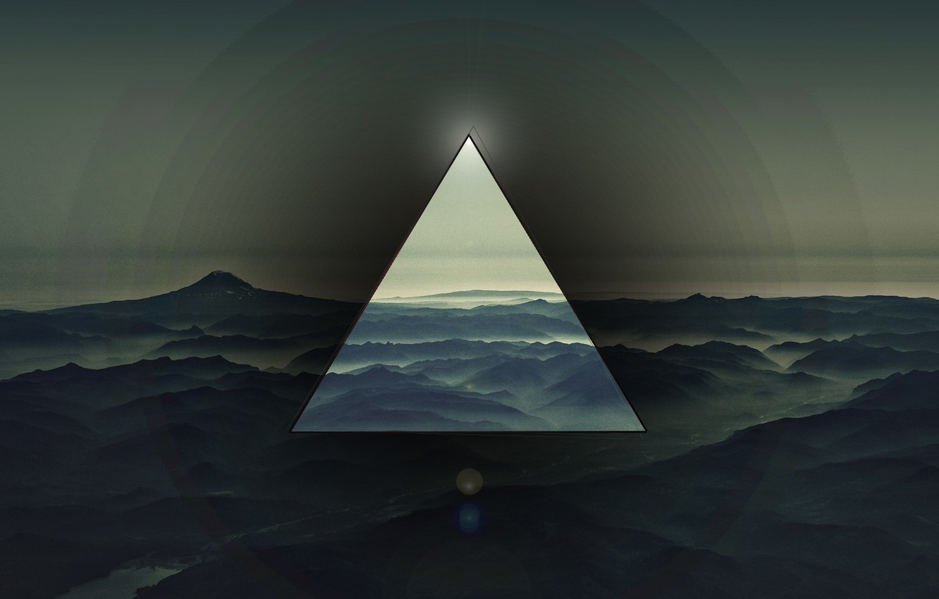 Photo wallpaper mountains, background, triangle