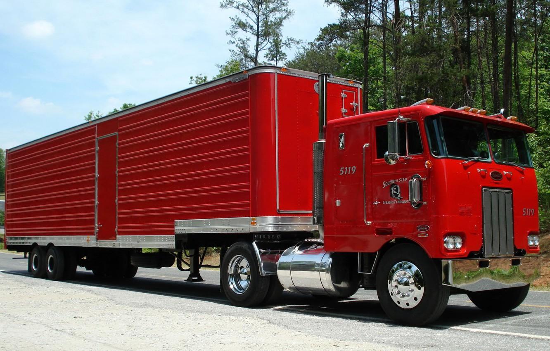 Photo wallpaper red, truck, the trailer, as, terminator, the truck, Peterbilt