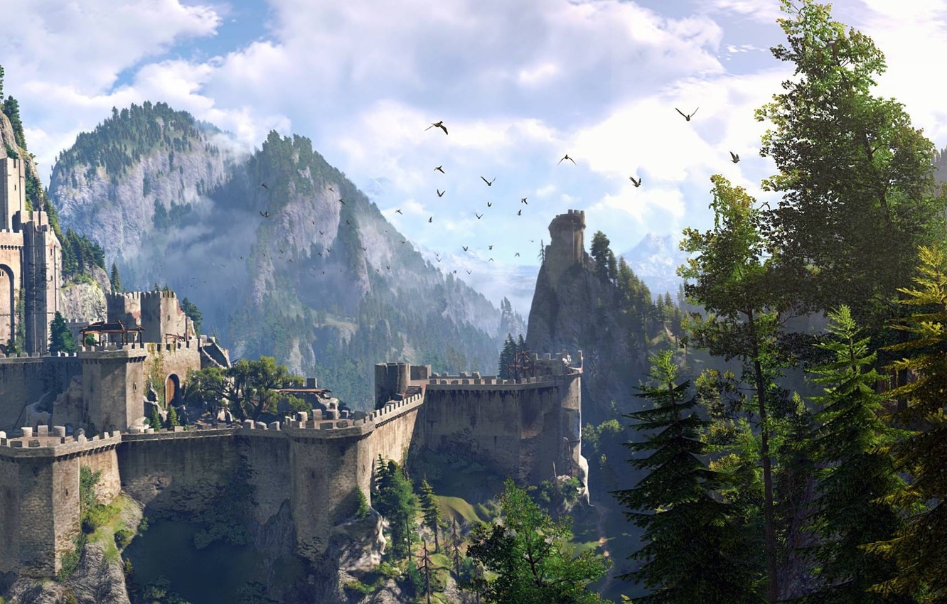 Photo wallpaper the sky, trees, mountains, Wallpaper, the game, RPG, The Witcher 3: Wild Hunt, The Witcher …