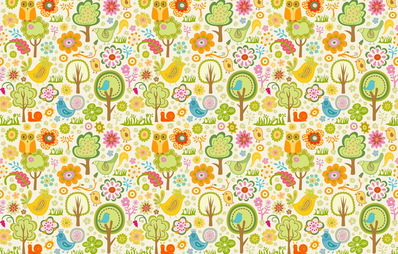 Photo wallpaper trees, birds, owl, children