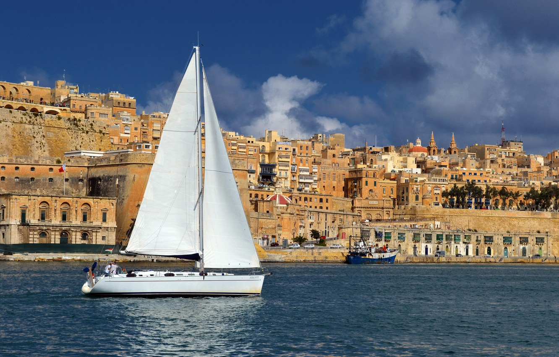Photo wallpaper sea, the city, photo, home, sailboat, yacht, Malta