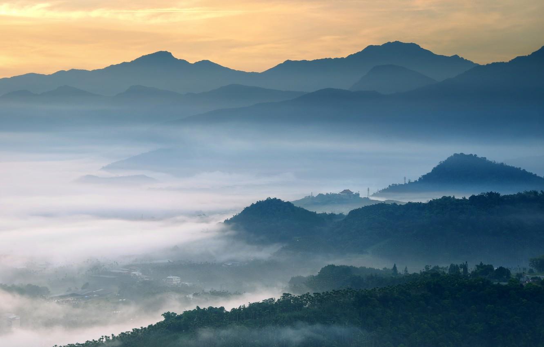 Photo wallpaper clouds, trees, sunset, fog, Mountains, Taiwan, forest, Taiwan, Yuchih Township