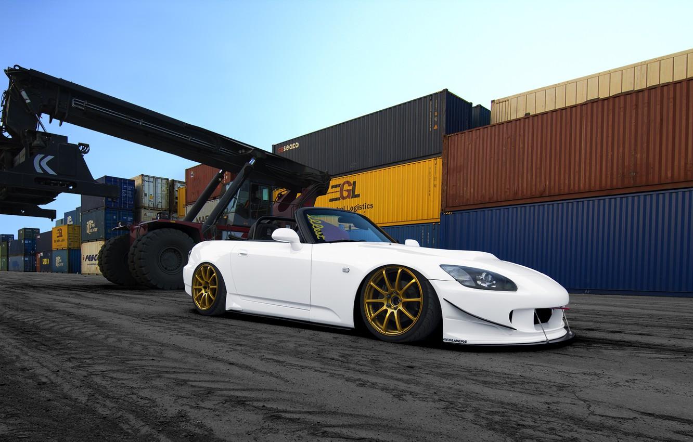 Photo wallpaper Honda, Car, Sky, Photoshop, Front, White, S2000, Tuning, Port, Gold, Wheels, Asphalt