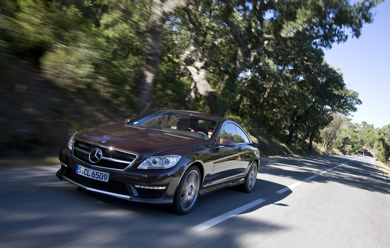 Photo wallpaper road, trees, coupe, Mercedes-Benz, Mercedes, the front, Burgundy, CL-class