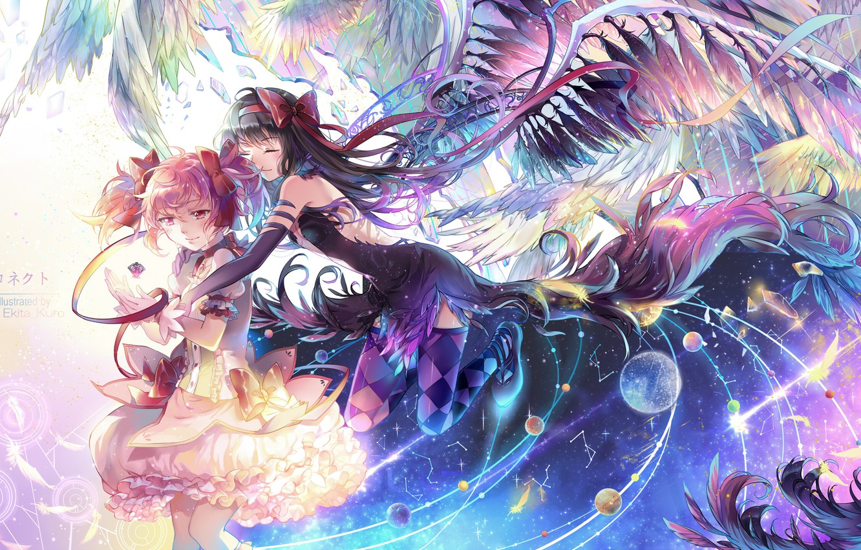 Photo wallpaper girls, planet, wings, anime, tears, art, mahou shoujo madoka magica, homura akemi, madoka kaname, girl …