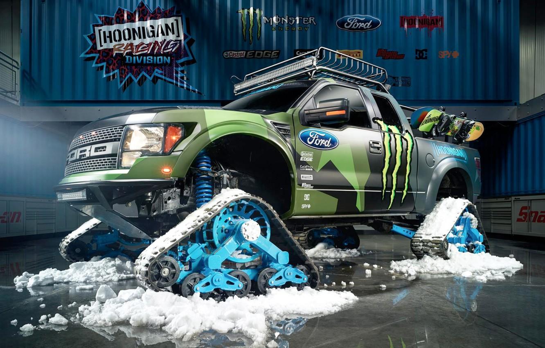 Photo wallpaper Ford, Racing, Monster Energy, Ken Block, Division, F-150, 2014, Hoonigan, RaptorTRAX