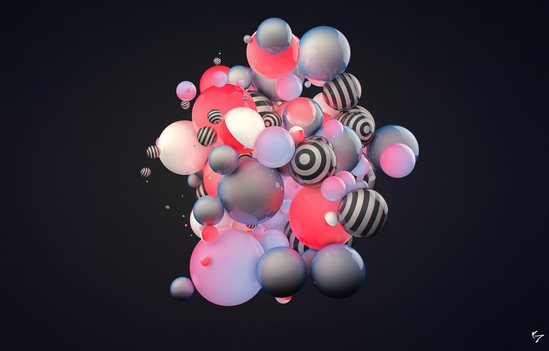 Photo wallpaper abstraction, rendering, balls, color. strip, condezine