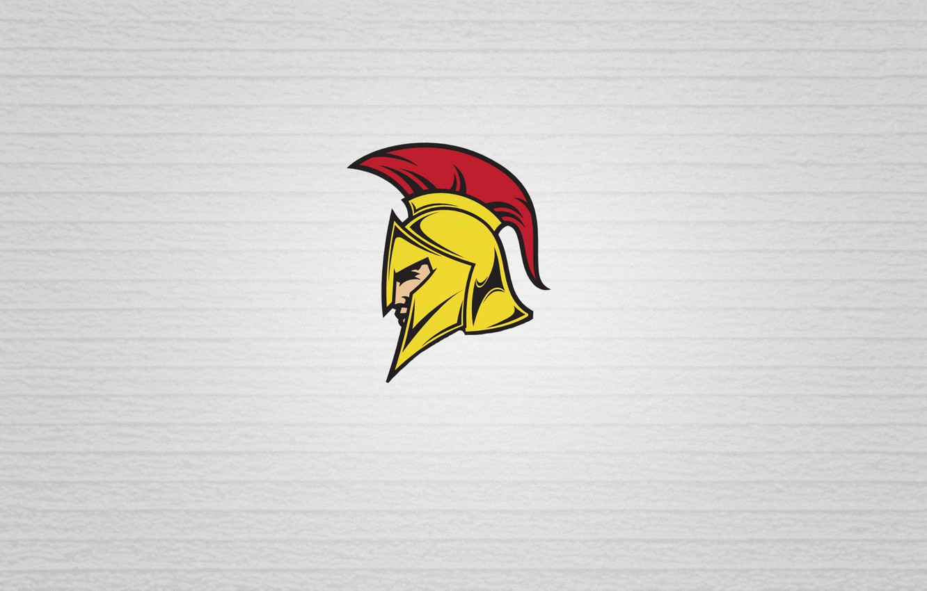Photo wallpaper yellow, red, minimalism, head, armor, soldiers, white background, helmet, Greece, this is sparta, Rome, Greek