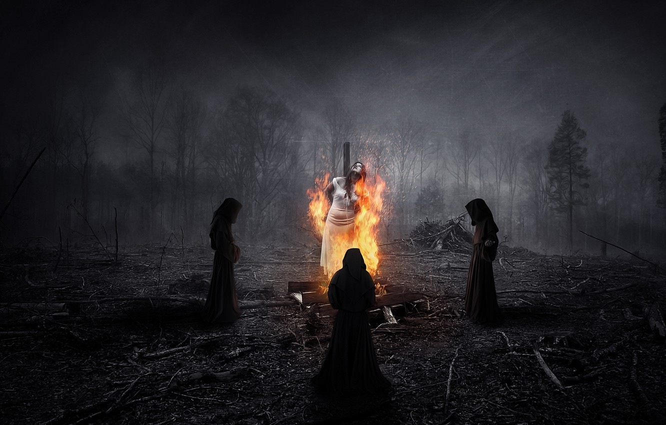 Photo wallpaper forest, night, people, fire, ritual, witch, three, burns, vestments